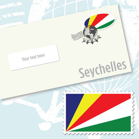 Seychelles envelope design with country flag stamp and postal stamping