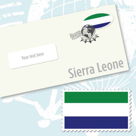 Sierra Leone envelope design with country flag stamp and postal stamping