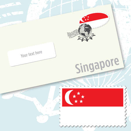Singapore envelope design with country flag stamp and postal stamping