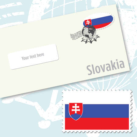 Slovakia envelope design with country flag stamp and postal stamping Vettoriali