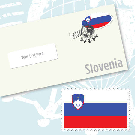 Slovenia envelope design with country flag stamp and postal stamping Vettoriali