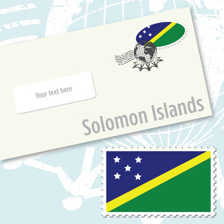 oceania: Solomon Islands envelope design with country flag stamp and postal stamping