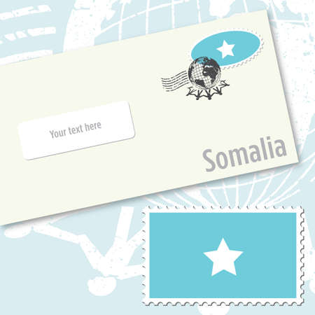 Somalia envelope design with country flag stamp and postal stamping