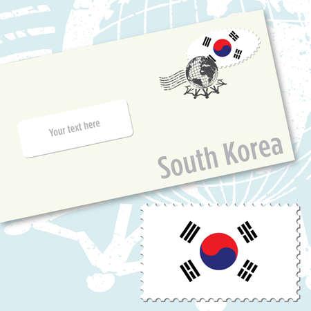 tae: Dise�o de sobres de Corea del sur con sello de bandera del pa�s y de sello postal