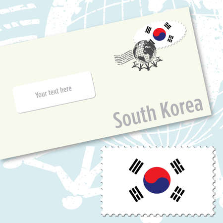 South Korea envelope design with country flag stamp and postal stamping