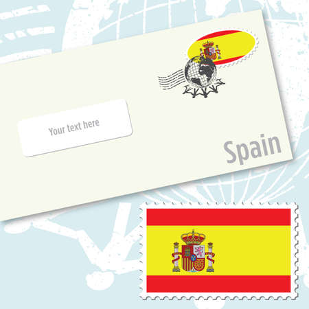 Spain envelope design with country flag stamp and postal stamping