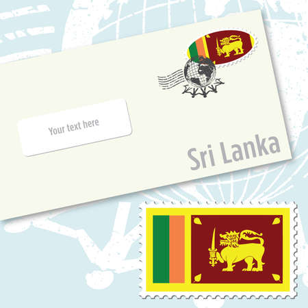 Sri Lanka envelope design with country flag stamp and postal stamping