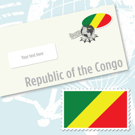 Republic of the Congo envelope design with country flag stamp and postal stamping