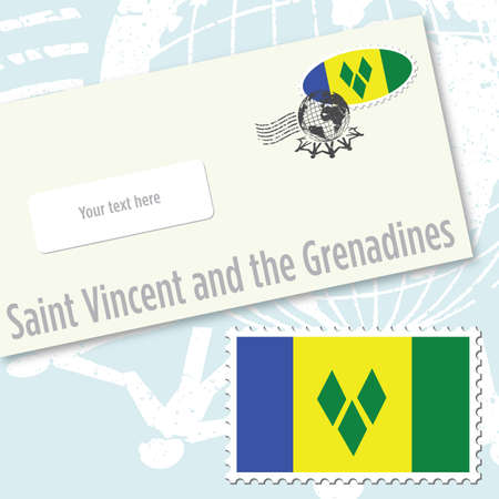 Saint Vincent and the Grenadines envelope design with country flag stamp and postal stamping