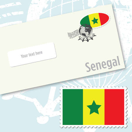 Senegal envelope design with country flag stamp and postal stamping