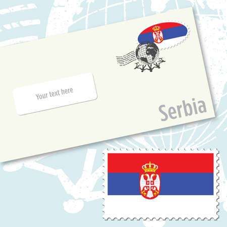 Serbia envelope design with country flag stamp and postal stamping