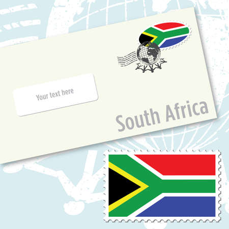 South africa envelope design with country flag stamp and postal stamping