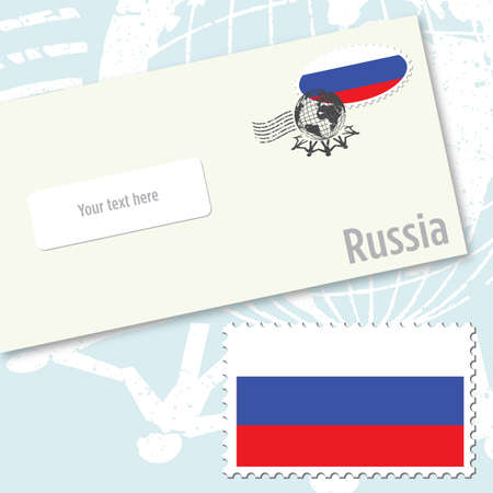 국가 국기 우표 및 우편 스탬프와 러시아 봉투 디자인