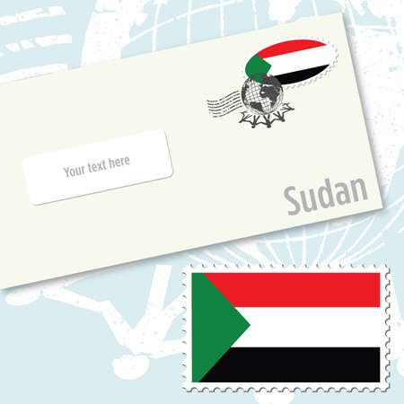Sudan envelope design with country flag stamp and postal stamping