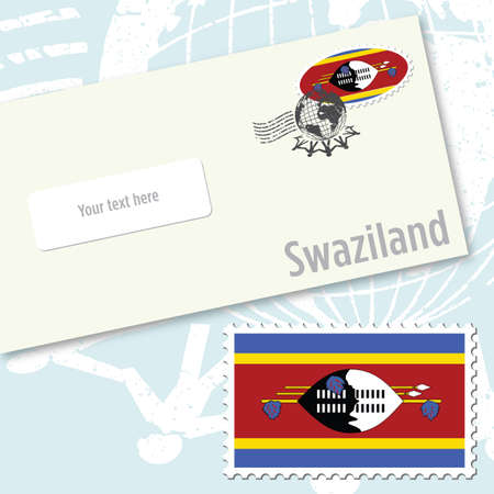 Swaziland envelope design with country flag stamp and postal stamping