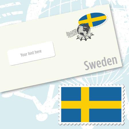 국가 국기 우표 및 우편 스탬프가있는 스웨덴 봉투 디자인