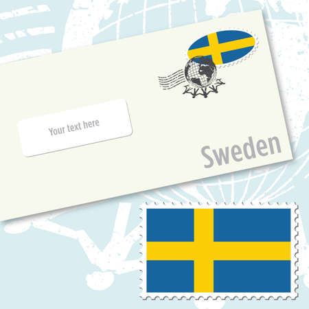 Sweden envelope design with country flag stamp and postal stamping Vettoriali