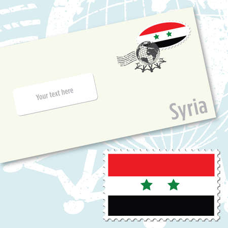 Syria envelope design with country flag stamp and postal stamping
