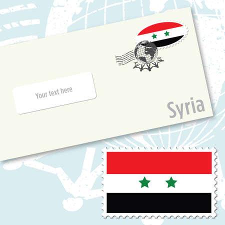 envelope design: Syria envelope design with country flag stamp and postal stamping
