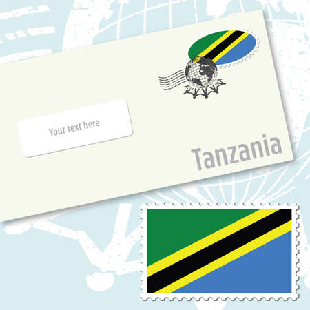 Tanzania envelope design with country flag stamp and postal stamping