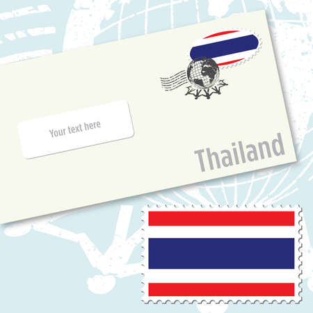 Thailand envelope design with country flag stamp and postal stamping