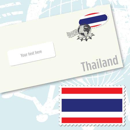 Design busta Thailandia con timbro di bandiera del paese e timbratura postale Archivio Fotografico - 9082279