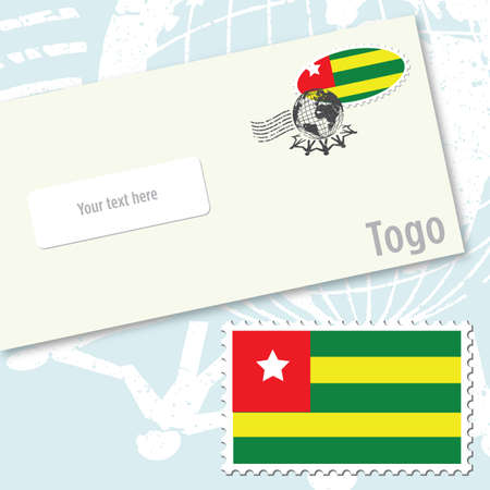 Togo envelope design with country flag stamp and postal stamping