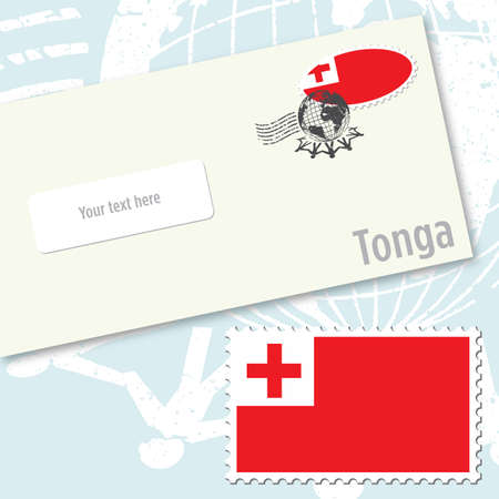 Tonga envelope design with country flag stamp and postal stamping Vettoriali