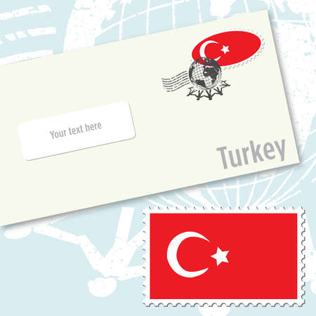 Turkey envelope design with country flag stamp and postal stamping