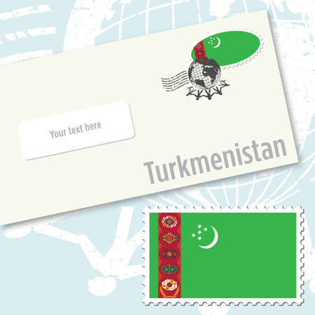 Turkmenistan envelope design with country flag stamp and postal stamping