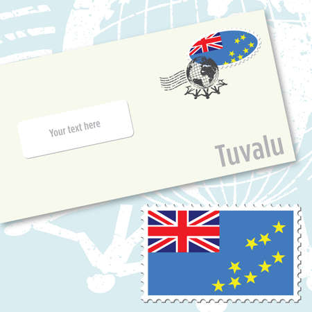 oceania: Tuvalu envelope design with country flag stamp and postal stamping