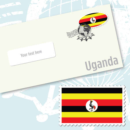 Uganda envelope design with country flag stamp and postal stamping Vettoriali