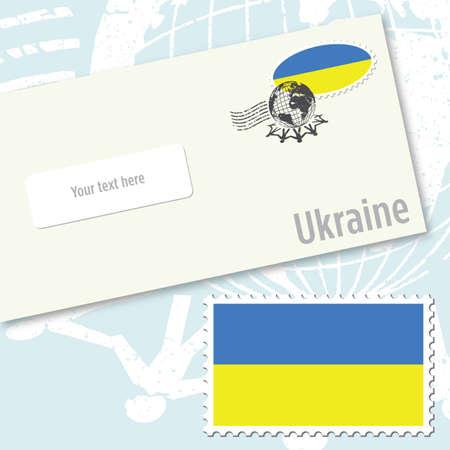 ウクライナ国旗スタンプと郵便スタンプ封筒のデザイン  イラスト・ベクター素材