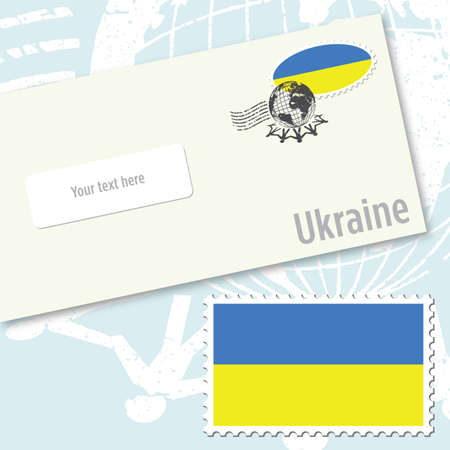 Ukraine envelope design with country flag stamp and postal stamping