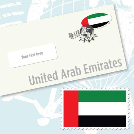 Diseño de sobres de Emiratos Árabes Unidos con sello de bandera del país y de sello postal Ilustración de vector