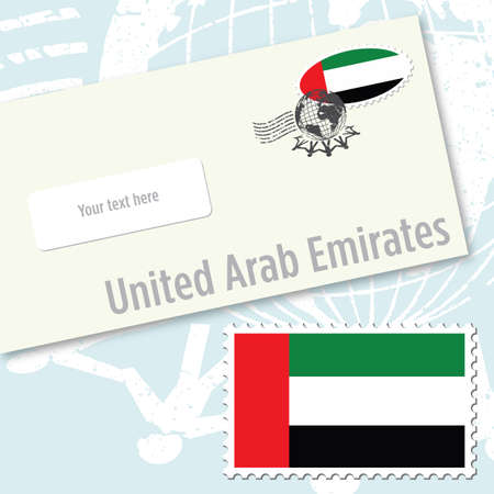 United Arab Emirates envelope design with country flag stamp and postal stamping