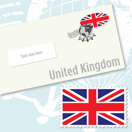United Kingdom envelope design with country flag stamp and postal stamping