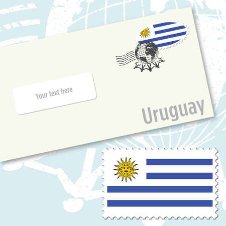 Uruguay envelope design with country flag stamp and postal stamping