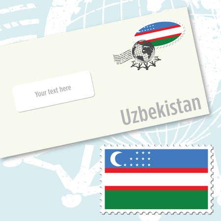 envelope design: Uzbekistan envelope design with country flag stamp and postal stamping