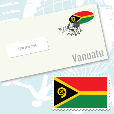 oceania: Vanuatu envelope design with country flag stamp and postal stamping