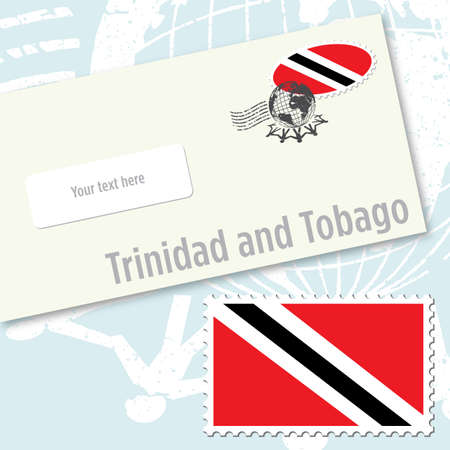 trinidad: Trinidad and Tobago envelope design with country flag stamp and postal stamping Illustration