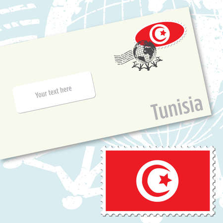Tunisia envelope design with country flag stamp and postal stamping Illustration