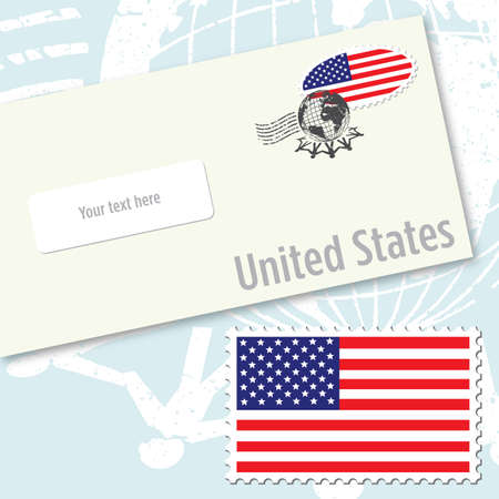 stamping: United states envelope design with country flag stamp and postal stamping