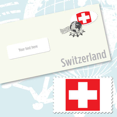Switzerland envelope design with country flag stamp and postal stamping