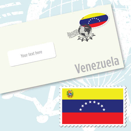 Venezuela envelope design with country flag stamp and postal stamping Vettoriali