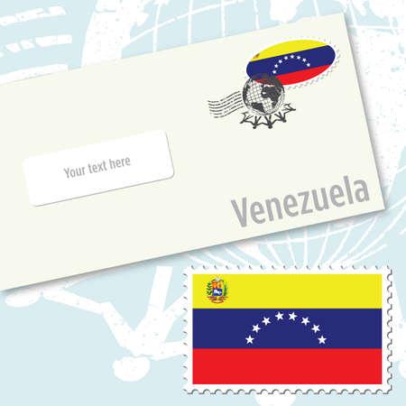 Venezuela envelope design with country flag stamp and postal stamping Illustration