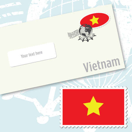 Vietnam envelope design with country flag stamp and postal stamping