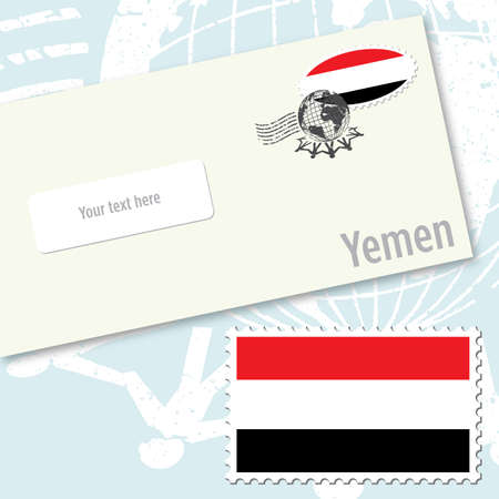 Yemen envelope design with country flag stamp and postal stamping Stock Vector - 9077982
