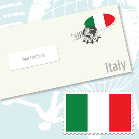 Italy envelope design with country flag stamp and postal stamping Illustration