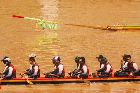 Phitsanulok  Thailand - 09 16 2018 :The traditional Longboat race in Nan River